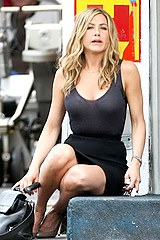 Spy pics of Aniston upskirt