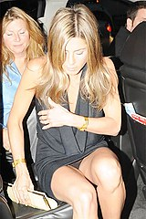 Black panty upskirt of Aniston